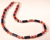 Lapis Lazuli Cylinders, Silver and Coral Necklace