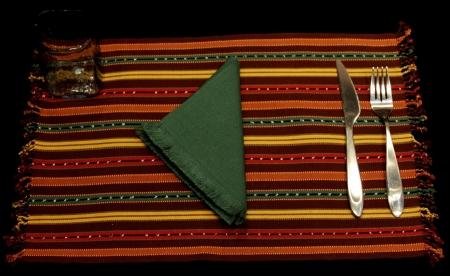 Set of 4 Brown Placemats with Green Napkins