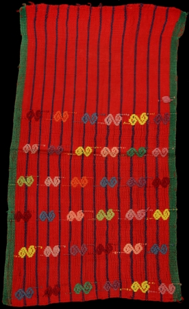 Red with Blue Vertical Lines Saint's Offering from San Pedro Sacatepéquez