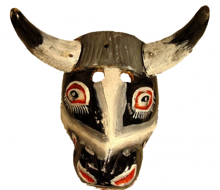 Grey Torito with real bull horns