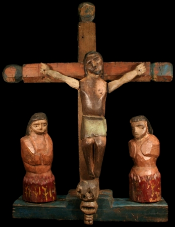Primitive Crucifix with Souls in Purgatory