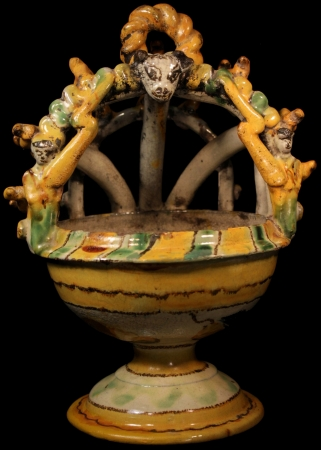 Old Ceremonial Incense Burner with blue and yellow flowers