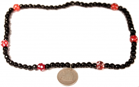 Cuatro Reales Coin Azabache Chachal with red spheres
