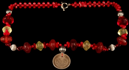 Red Vaseline Beads with rare 2 Reales Coin Chachal