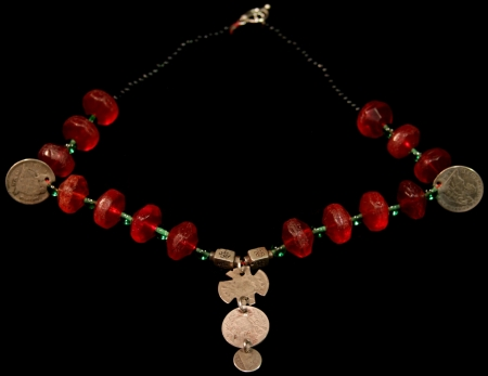Red Vaseline Beads with one Real Coins Chachal